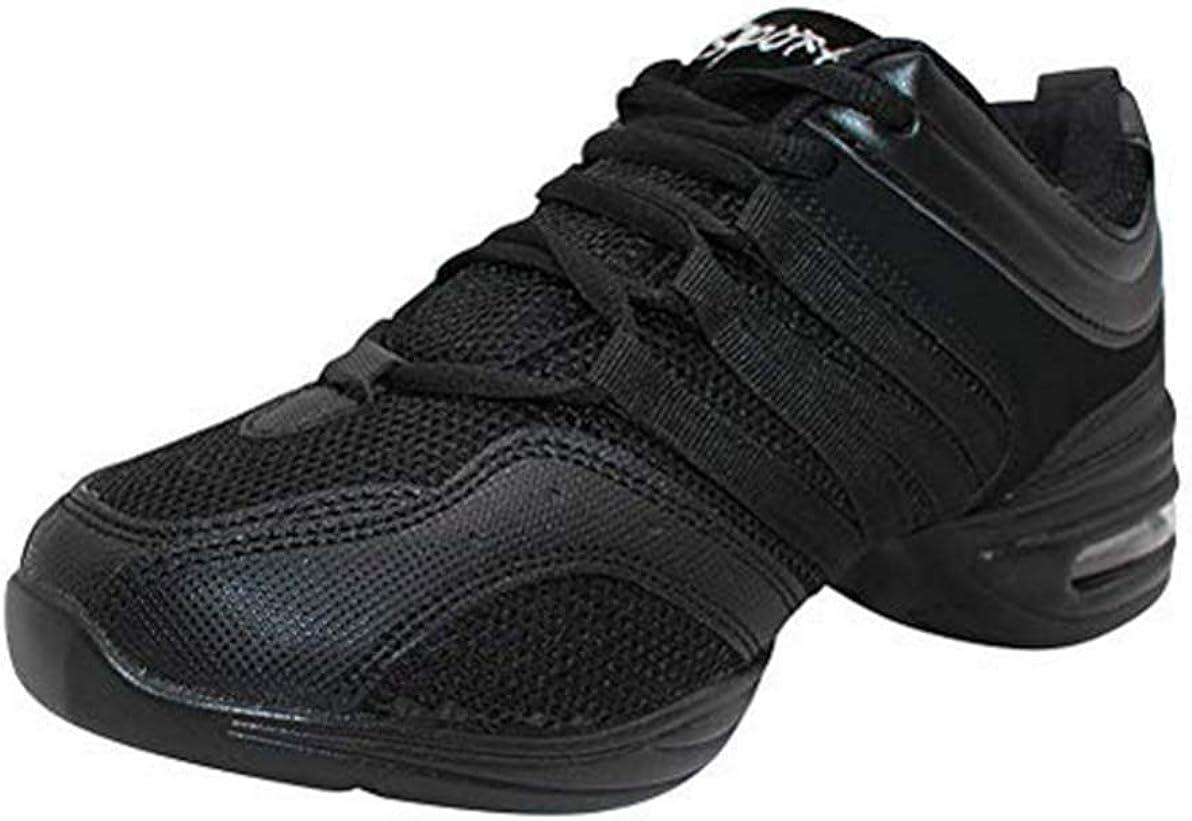 Fuyingda Zapatos de Jazz Negros Estilo de Mujer - Zapatos de Baile salón de Banquetes al Aire Libre Zapatos de Baile Latino Zapatillas de Deporte Moda Cordones Respirables Danza contemporánea Ocio