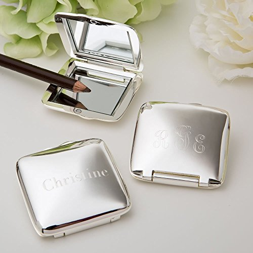 Engraved Silver plated Square Compact (Silver Plated Compact Mirror)