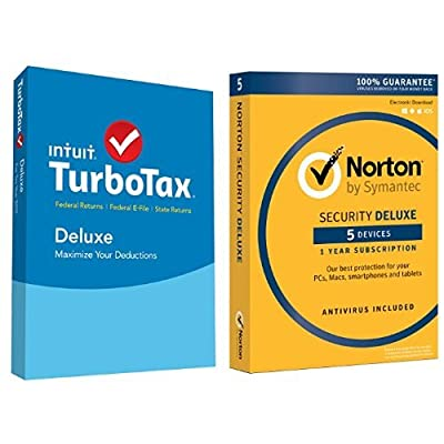 TurboTax Deluxe 2015 Federal + State Taxes + Fed Efile Tax Preparation Software - PC/Mac Disc with Norton Security Deluxe - 5 Devices