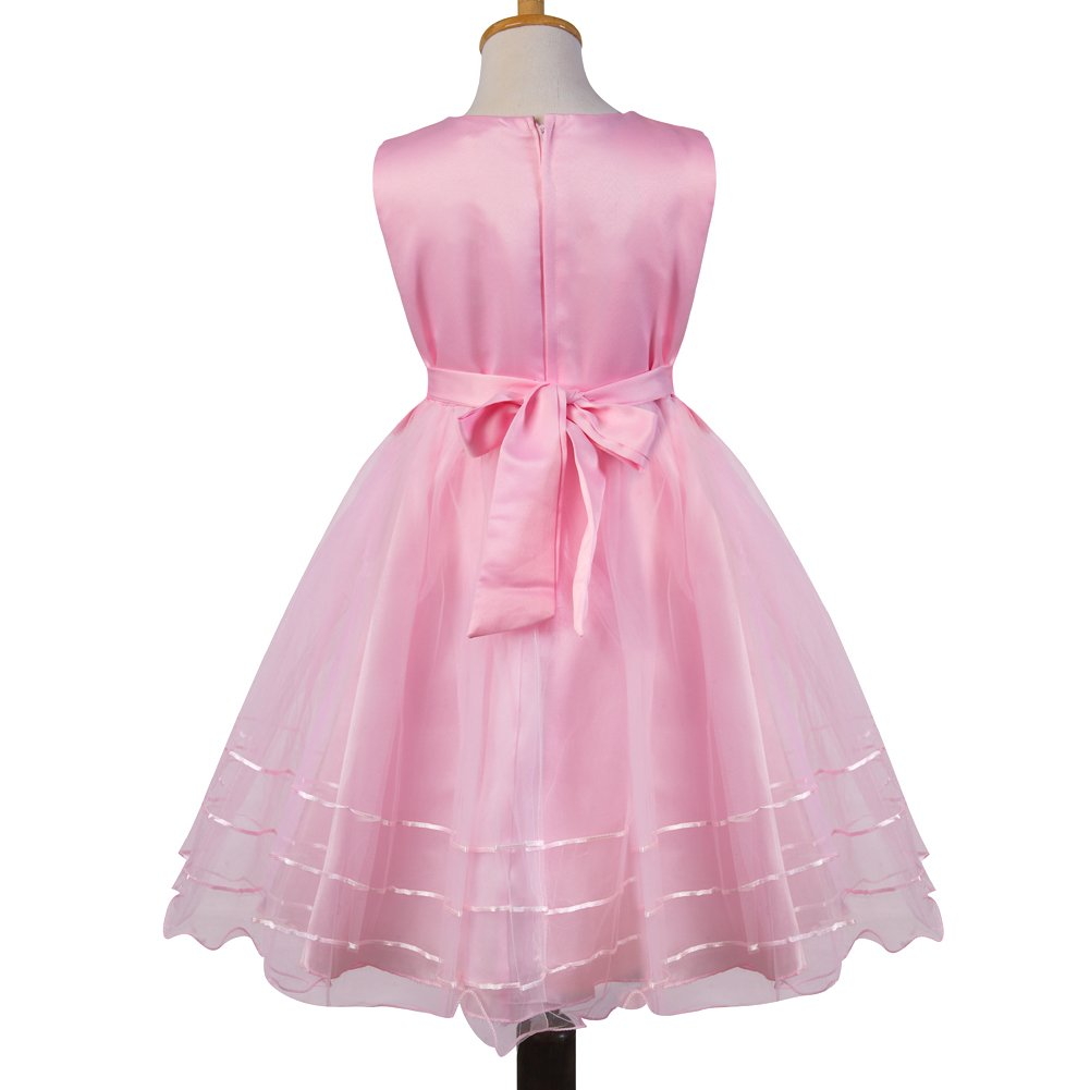 7c86038ac42 Amazon.com  Girls  Polyester Sleeveless Princess Party Dresses Summer Flower  Tulle Dress  Clothing