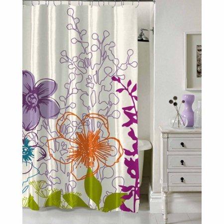 Pop Shop Floral Garden Shower Curtain, 70 x 72, Purple (Shop Curtain Shower)