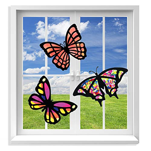 VHALE 3 Sets of Stained Glass Effect Paper Suncatcher Kits, Window Art, Window Decorations, Creative Arts and Crafts, Great Travel Toys and Party Favors for Kids (Butterfly)