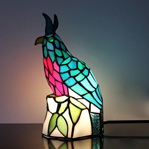 (Tiffany Style Retro Green Little Bird Table Lamp Children's Lamp Night Light)