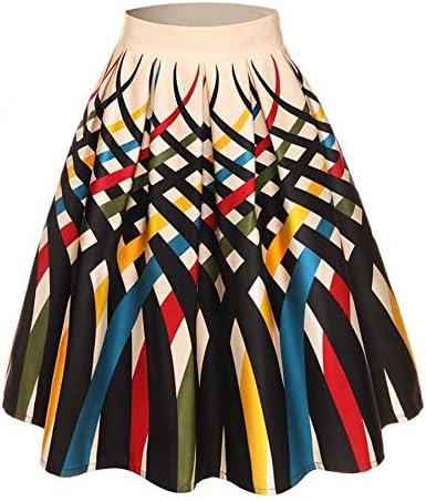 HEHEAB Falda,Las Líneas De Color Retro Vintage Impresión Faldas ...