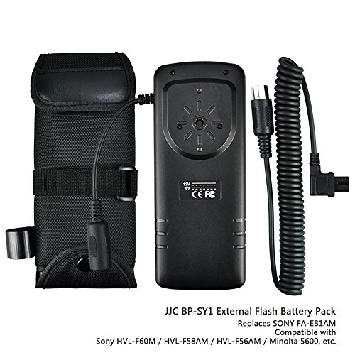 JJC Rapid Flash Fire Recycling External Flash Battery Pack for Camera Speedlite Sony HVL-F60M, HVL-F58AM, HVL-F56AM, Minolta 5600, replaces Sony FA-EB1AM