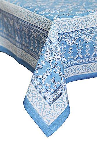 Petal Pushing Azure Hand Printed Cotton Tablecloth, Round, (Hand Printed Tablecloth)