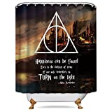 LIGHTINHOME Quotes Shower Curtain in Harry Potter Movie Set Magical Wizarding School Triangle Geometric Panel Polyester Waterproof Decor Fabric 72x72 Inch with 12-Pack Plastic Shower Hooks