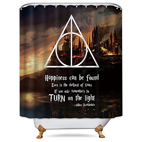 LIGHTINHOME Quotes Shower Curtain in Harry Potter Movie Set Magical Wizarding School Triangle Geometric Panel Polyester Waterproof Decor Fabric 72x72 Inch with 12-Pack Plastic Shower Hooks by LIGHTINHOME