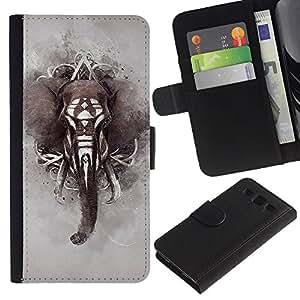 A-type (Elephant War Pattern Indian Africa Grey) Colorida Impresión Funda Cuero Monedero Caja Bolsa Cubierta Caja Piel Card Slots Para Samsung Galaxy S3 III I9300