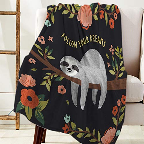 Savannan Fleece Blanket Throw Blanket for Bed or Couch,Super Soft Microfiber Fuzzy Decorative Flannel Blanket for Adults Kids,Follow Your Dreams Sloth (60 x 80 Inches)