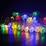 BlueFire 31FT 50 Leds Christmas String Lights Water Drop String Lights Fairy Ambiance Lighting for Garden, Home, Patio, Lawn, Party and Christmas Holiday Decorations (Multi-color)