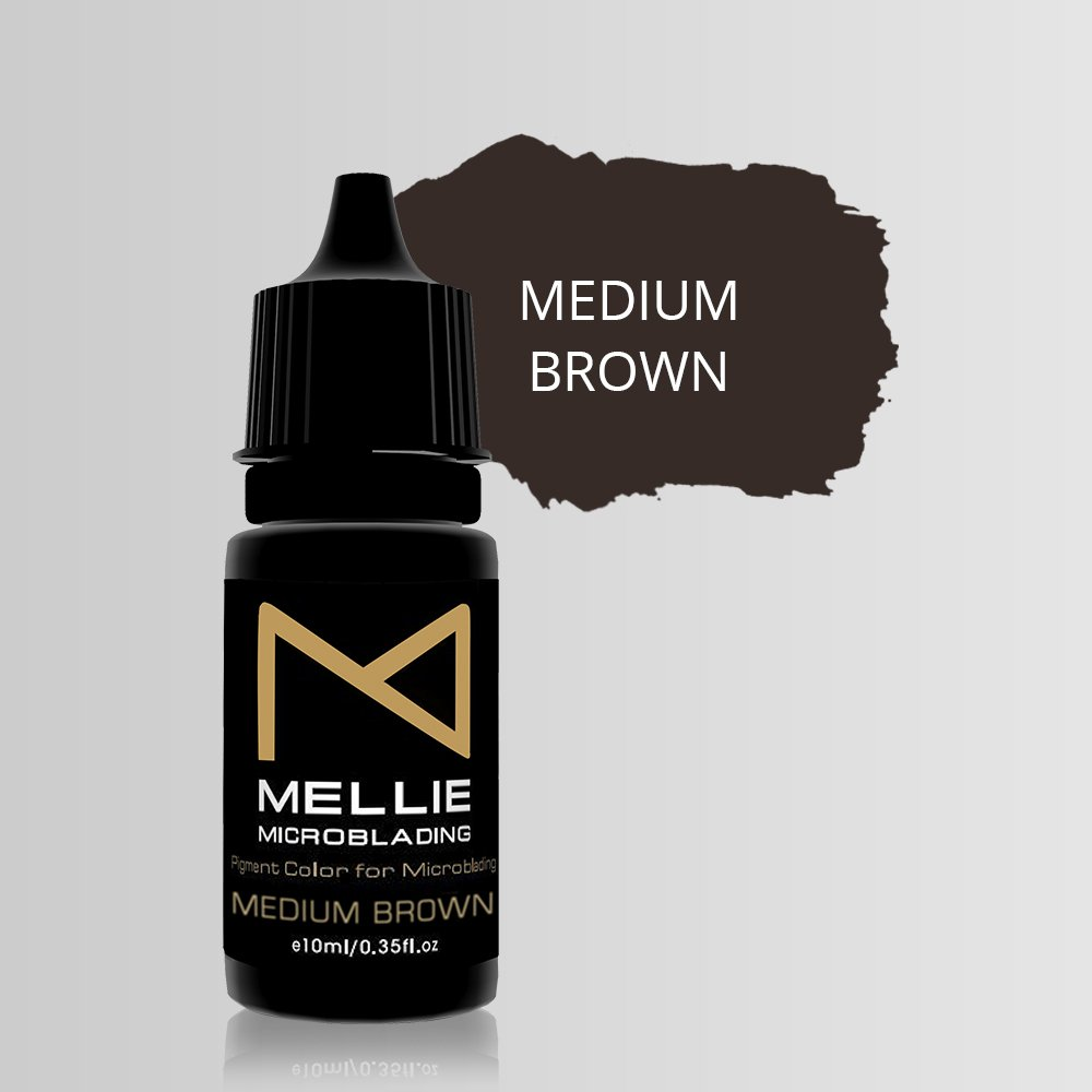Mellie Microblading Pigment - Medium Brown 10 ml/.35fl.oz | Medical Grade | No Mixing | Long Lasting Tattoo Ink For Professionals Semi-Permanent Make Up PMU Supplies by M