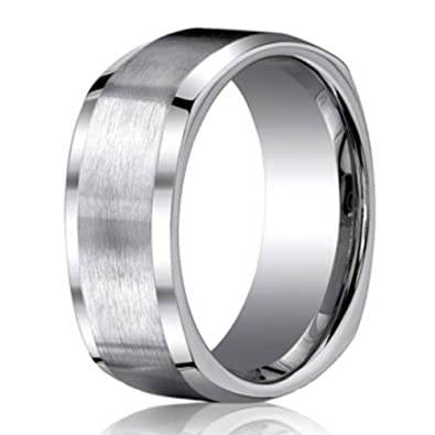 benchmark satin finish titanium four sided mens wedding ring 9mm size 6 - Square Wedding Rings