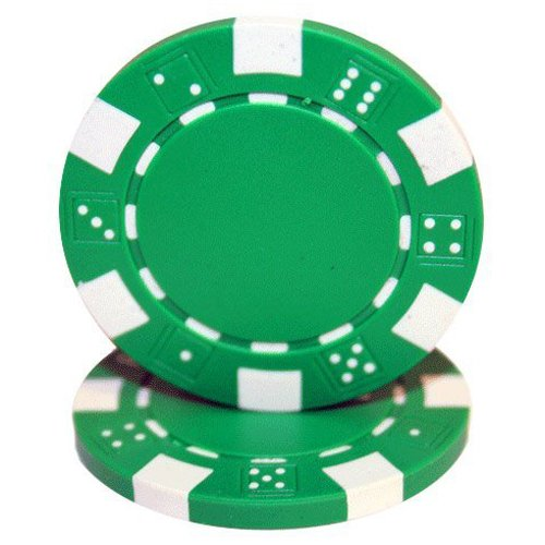 Dice Striped - Brybelly 50 Green Clay Composite Striped Dice 11.5 Gram Poker Chips