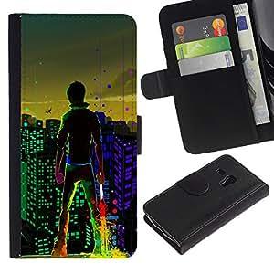 """[Neutron-Star] Modelo colorido cuero de la carpeta del tirón del caso cubierta piel Holster Funda protecció Para Samsung Galaxy S3 MINI 8190 (NOT S3) [Big City Boy luces de colores Arte de Windows""""]"""