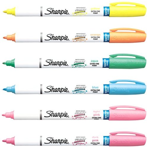 sharpie-paint-marker-pens-water-based-ex-fine-point-6-glitter-colors-kit