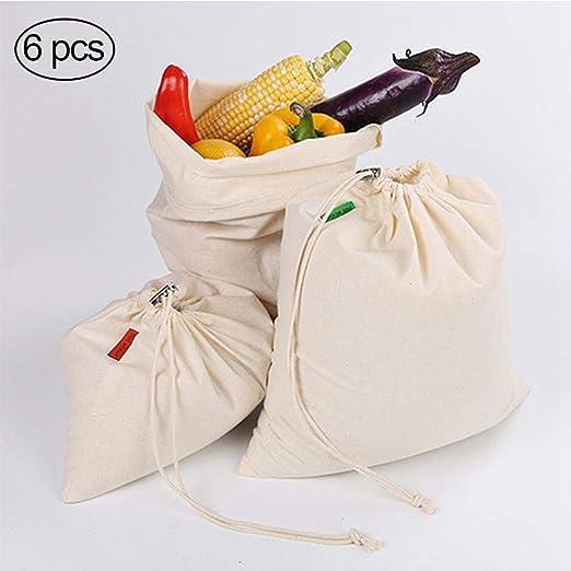 Volwco Bolsa Reutilizable para Productos de algodón orgánico, Bolsas de Alimentos para Verduras, 6 Unidades: Amazon.es: Hogar