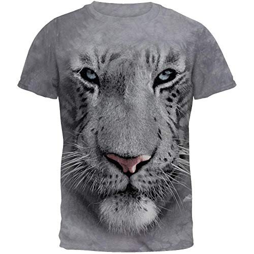 The Mountain White Tiger Face Adult T-Shirt, Grey, Medium ()