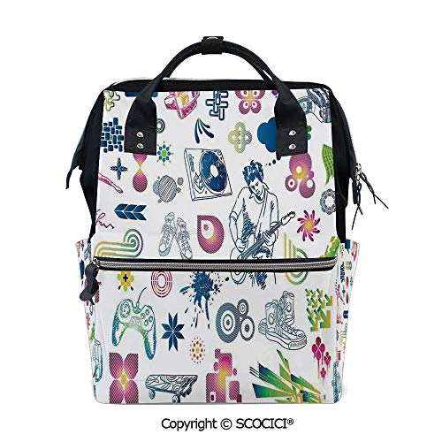 SCOCICI Large Couple Backpack handbag,Modern Decor Boy Teenager Guitarist with Butterflies Playstation Ombre Image,Multi Purpose Shoulder Backpack