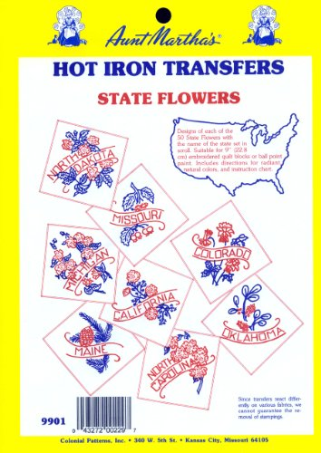 Aunt Martha's State Flowers Iron On Transfer Pattern Collection, All 50 States ()