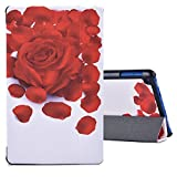 Dopup All New Fire 8 Case Smart Cover with Auto Wake/Sleep Lightweight Standing Slim Fit PU Leather Fire 8 Tablet Case(Rose Petal)