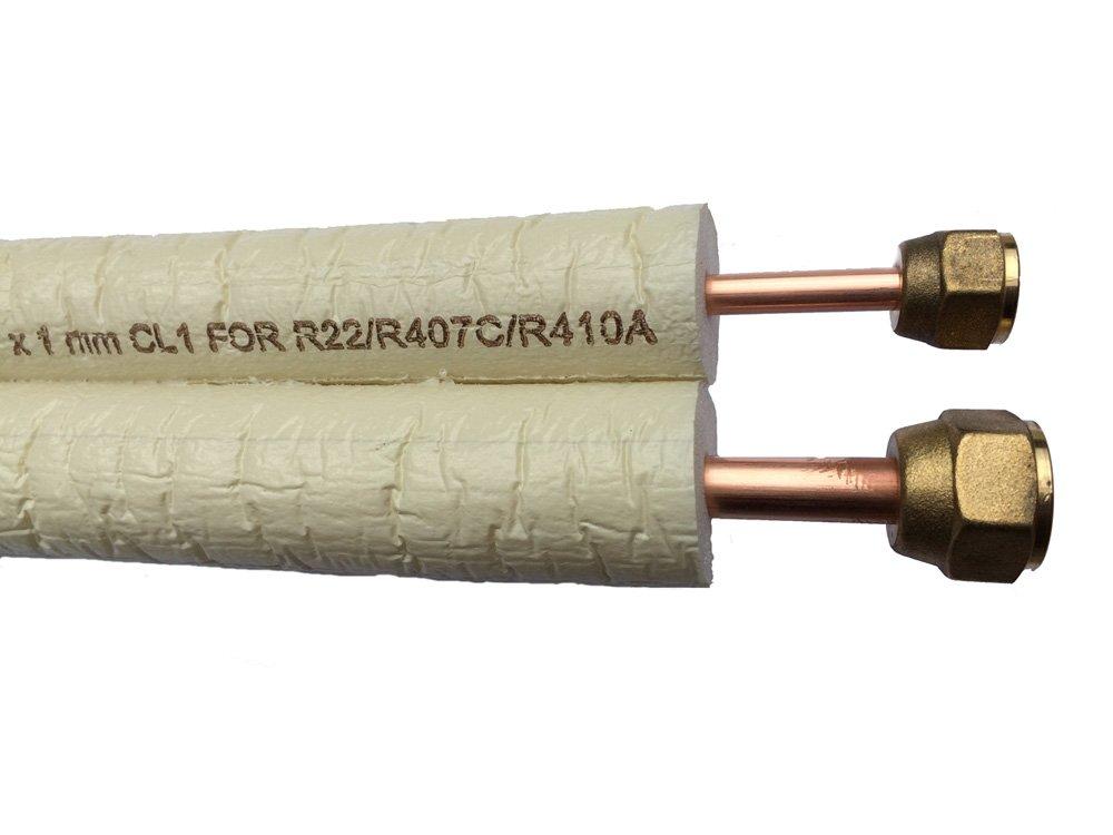 Kä ltemittelleitung 2 Meter 1/4-3/8 doppel fü r Splitklimaanlagen inkl. Bö rdelung - Muttern