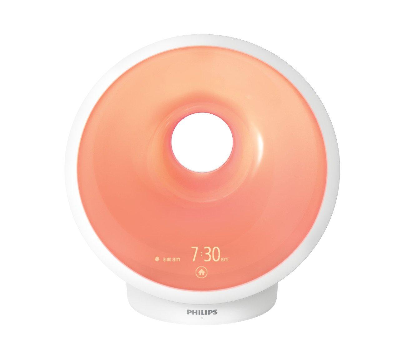 Philips Somneo Sunrise Wake Up and Sleep Therapy Light with Sunrise Alarm and Sunset Fading Night Light, White HF3650/60