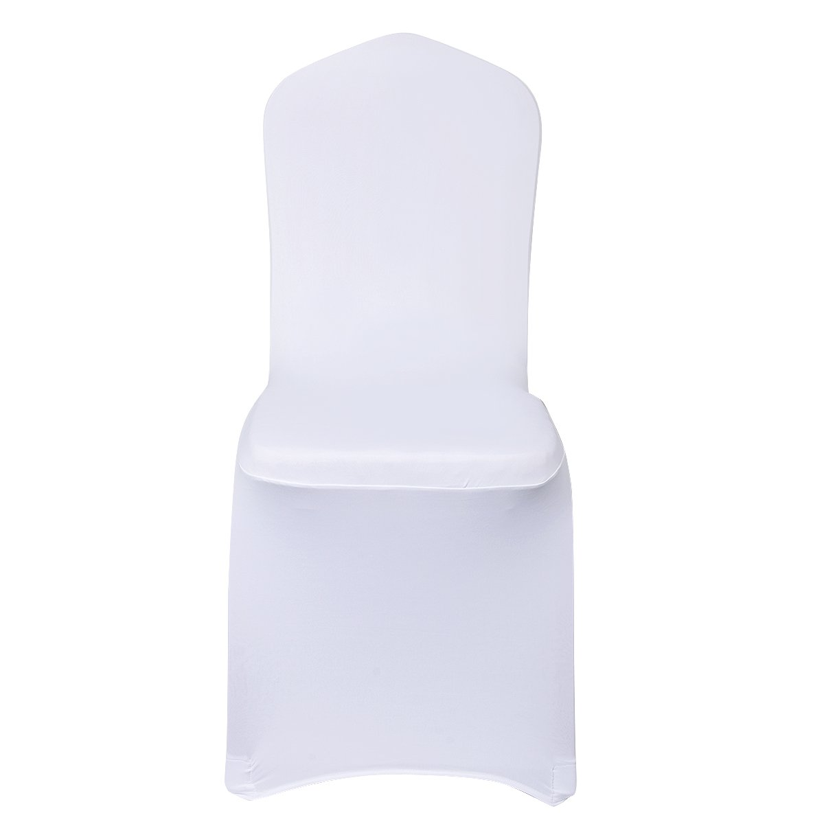 White CUSFULL 10 Pcs Polyester Spandex Banquet Wedding Party Chair Covers Universal