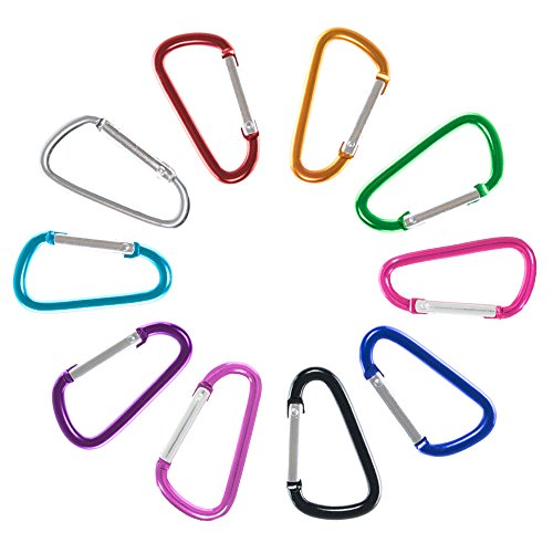 Craft County Colorful 40mm D Shaped Spring Loaded Snap Hook Aluminum Gate 1.5 Inch Mini Carabiner Keychain Clip - Multiple Color Options - Pack Size Options