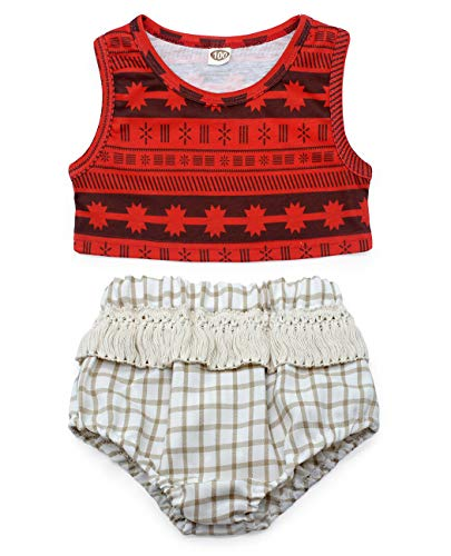Cotrio Infant Moana Clothes Dress Girls Clothes Set with Underwear Baby Panties Toddler Briefs Halloween Costume Outfit Size 70 (Red, 3-6 Months) (Baby Panties Fancy)