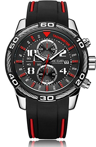 VOEONS Black Chronograph Watch for Men Casual Wrist Watch with (Black Chronograph Wrist Watch)