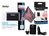 Vivitar NP-FM500H Ultra High Capacity Rechargeable 1800mAh Li-ion Battery + AC/DC Vivitar Rapid Travel Charger + Microfiber Lens Cleaning Cloth for Sony Alpha Cameras (Sony NP-FM500H Replacement)