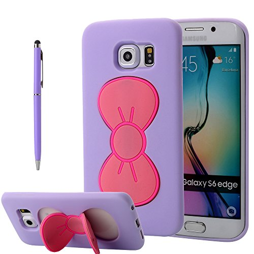 Galaxy S6 Edge Case, PandawellTM Slim Thin Fashion Lovely Girls Shock Absorption Soft TPU Cute Bowknot Kickstand Case Cover for Samsung Galaxy S6 Edge with Screen Protector & Ball-point Stylus Pen (Bowknot-Purple)