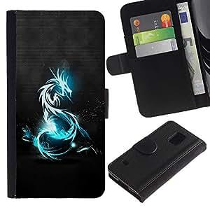 All Phone Most Case / Oferta Especial Cáscara Funda de cuero Monedero Cubierta de proteccion Caso / Wallet Case for Samsung Galaxy S5 V SM-G900 // Blue Tribal Dragon
