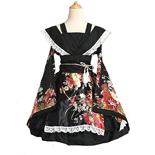 Womens Black Japanese Sexy Kimono Costume Cosplay Dress