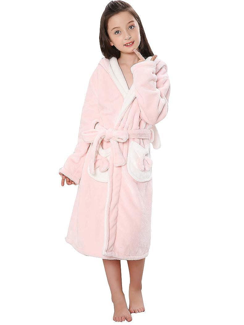 Girls Fleece Bathrobe Spa Robe Soft Microfiber Bunny Kimono Hoodie Sleepwear
