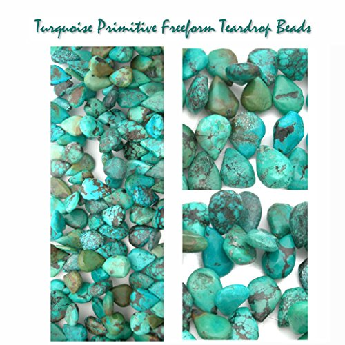 Genuine Turquoise Primitive Freeform Teardrop Beads (Package includes 24 Beads) for Jewelry Making, (Freeform Turquoise Bead Pendant)