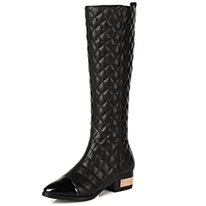 Nine Seven Patent Leather Women's Pointed Toe Chunky Heel Checks Mid Calf Handmade Boot (5.5, black)