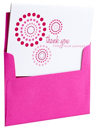 (10 Breast Cancer Support, Modern Pink Ribbon Thank You Cards, Printed on 100% Recycled Stock - For Charity Events, Runs, Walks and 3-Day - Maddie by Two Poodle Press)