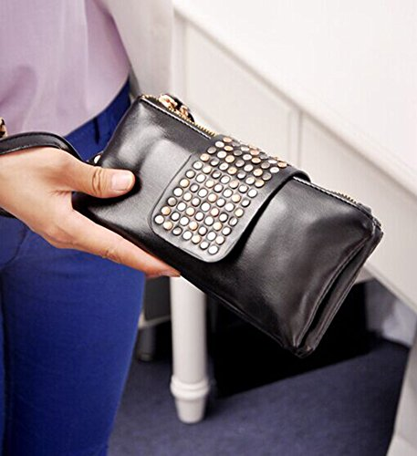 Rivet Evening Handbag Purse tm Bling Leather Black Black Pu Niceeshop qZfwxFZ