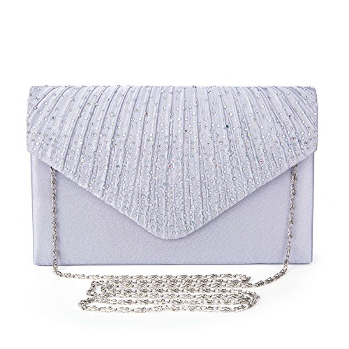 Pleated Silk Clutch (Ladies Evening Satin Bridal Diamante Ladies Clutch Bag Party Prom Envelope Style Clutch (Silver))