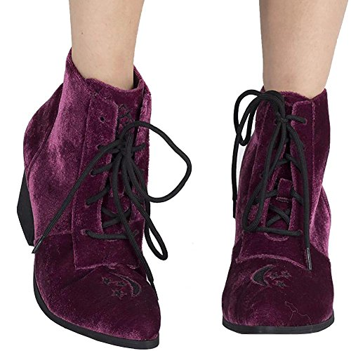 Y.R.U. Womens Witchy Stars and Moon Aura Burgundy Velvet Ankle Boot – Size 7 ()
