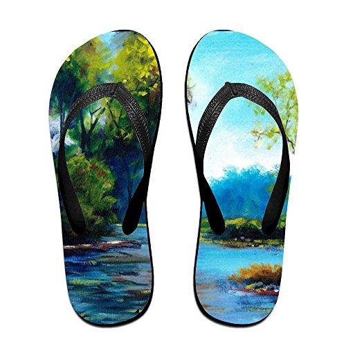 Black Landscape PTJHKET Flip Men Women Kids Slippers For Painting Flops Air Oil rfPtUfx