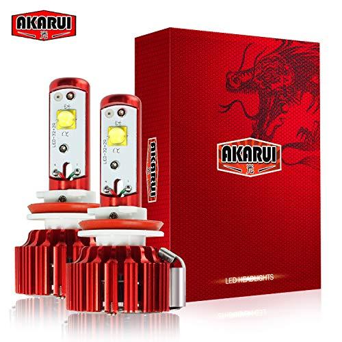 Akarui LED Headlight Bulbs Conversion Kit - Single Beam - CREE - 9,600 lumens - 55W - 6000K Cool White - 2-Year Warranty - Pair (H11 (H8/H9))