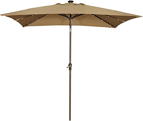 Abba Patio 9 by 7 Feet Rectangular Patio Umbrella with Solar Powered 32 LED Lights with Tilt and Crank, Brown