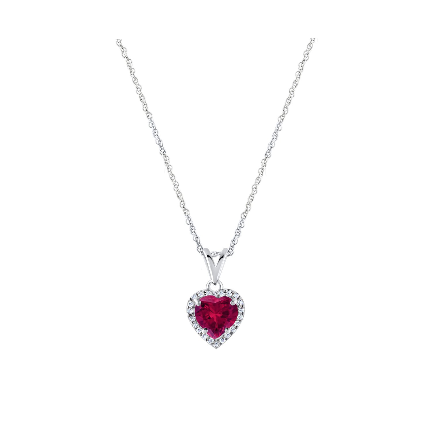 Diamond Scotch Simulated Gemstone Halo Heart Solitaire Pendant Necklace and Earrings Jewelry Sets in 14k White Gold Plated 18 inches