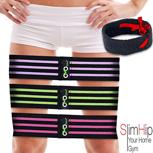 OMOteam Booty Resistance Workout Hip Exercise Bands| Fitness Loop Circle Gear| Legs & Butt -Activate Glutes &Thighs- Thick, Wide, Cloth Bootie Training & Lifting Squats, Yoga, Crossfit, Pilates