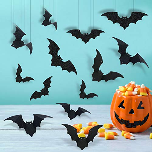 Hanging Bat Decorations Halloween (24Pcs Black Glittery Hanging Bats Garland and Bat Wall Decals Window Stickers,Halloween Party Decorations Outdoor Yard)