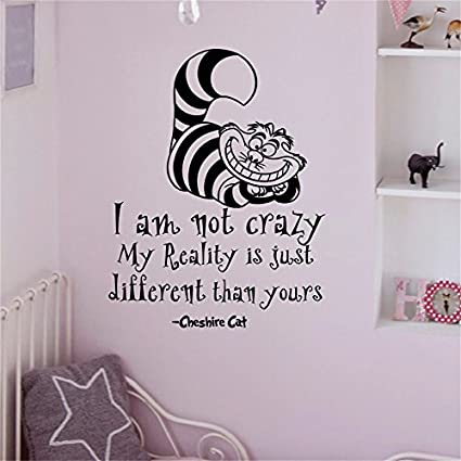 yingkai alice in wonderland wall decals quotes cheshire cat i am not