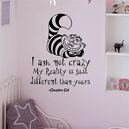 YINGKAI Alice In Wonderland Wall Decals Quotes Cheshire Cat I Am Not Crazy Living Room Vinyl Carving Wall Decal Sticker for Home Window Decoration